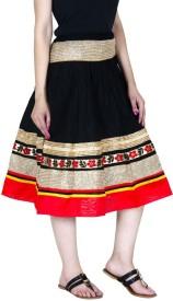 ooltah chashma Embellished Women's A-line Black, Red Skirt