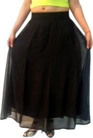 S.M.A.M.H Solid Women's A-line Black Skirt