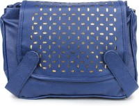 Star Style Women Blue PU Sling Bag