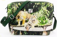Jajv Women Casual Green Canvas Sling Bag