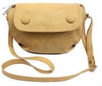 Leather Land Women, Girls Beige Leatherette Sling Bag