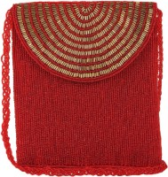 Ahankara Women, Girls Evening/Party, Festive, Casual, Formal Red, Gold Beads, Polyester Sling Bag