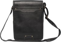 C Comfort Men, Women Casual Black Genuine Leather Sling Bag