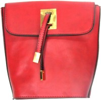 MK Girls Casual Red Leatherette Sling Bag