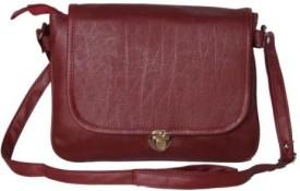 Kuero Women Maroon Leatherette Sling Bag
