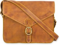 Calligraphy Women Casual Tan Genuine Leather Sling Bag