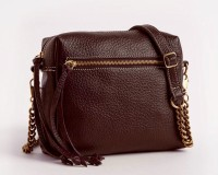Leahter Women Maroon Genuine Leather Sling Bag