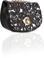 Kiara Girls, Women Casual Black Leatherette Sling Bag