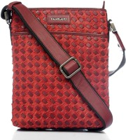Da Milano Women Red Genuine Leather Sling Bag