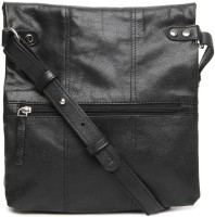 Fume Leather Medium Sling Bag - Black