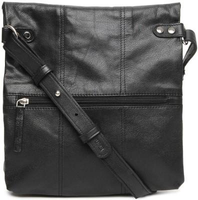 Fume Leather Medium Sling Bag - Black
