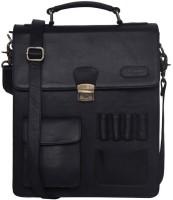Justanned Men Casual Black Genuine Leather Sling Bag