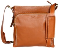 Viari Men Casual Tan Genuine Leather Messenger Bag