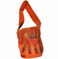 Little India Handmade Ethnic Patch Work Art147 Medium Sling Bag (Orange)