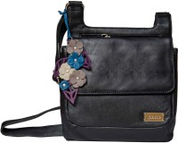 Klasse Girls Casual Black Genuine Leather Sling Bag