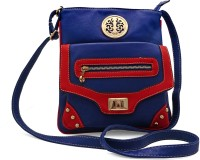 S&B Fashion Women Casual, Evening/Party, Festive, Formal Blue, Red Genuine Leather Sling Bag