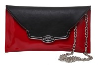 Tripssy Women Evening/Party, Casual Red, Black Leatherette Sling Bag