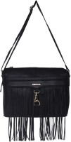 Justanned Women Casual Black Genuine Leather Sling Bag