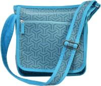 Rhombus Women Casual Blue Cotton Sling Bag