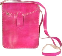 Bonjour Store Women Casual Pink Genuine Leather Sling Bag