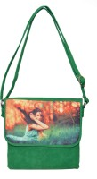 Rehan's Women Casual Green Leatherette Sling Bag