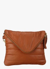 NCS Girls Brown Genuine Leather Sling Bag