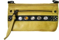 WeMe Women Casual Yellow Genuine Leather Sling Bag