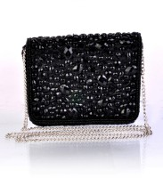 Diwaah Women Evening/Party Black Silk Sling Bag