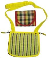 Karukraft Girls, Women Casual, Evening/Party, Festive, Formal Yellow Cotton Sling Bag