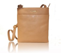 La Roma Girls Casual Tan Genuine Leather Sling Bag