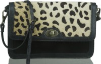 Neon By Paint Girls Casual Black, Brown Genuine Leather Sling Bag