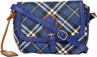 Thegudlook Women Casual Blue Leatherette Sling Bag