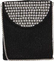 Ahankara Women, Girls Evening/Party, Festive, Casual Black, White Beads, Polyester Sling Bag