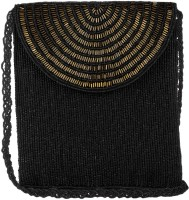 Ahankara Women, Girls Evening/Party, Festive, Casual, Formal Black, Gold Beads, Polyester Sling Bag