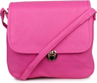 Star Style Women Pink Leatherette Sling Bag