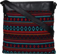 Anekaant Women Black, Multicolor Cotton, PU Sling Bag