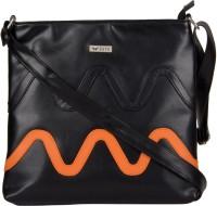 Bern Girls Casual Black, Orange PU Sling Bag