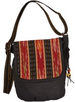 Indian Rain Abby Black Canvas Medium Sling Bag - Black