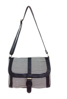Carry On Bags Nautical Stripes Medium Sling Bag - Black, White