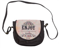 Bandbox Women Casual Brown, Beige PU, Canvas Sling Bag
