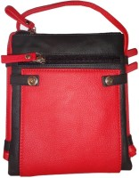 Style 98 Men Casual Black, Red Genuine Leather Sling Bag