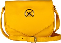 Khiora Women Formal, Casual, Evening/Party Yellow Genuine Leather Sling Bag