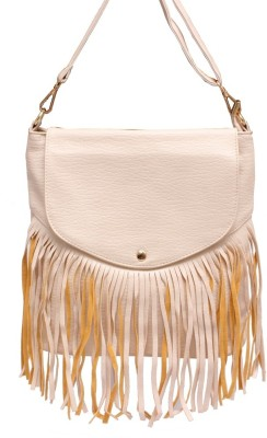 Brown & Bow Women White PU Sling Bag