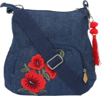 Pick Pocket Women Blue Canvas Sling Bag
