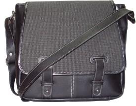 Fume Men, Women Casual Black Genuine Leather, Cotton, Jute Sling Bag