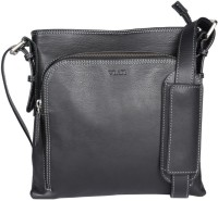 Viari Men Casual Black Genuine Leather Messenger Bag