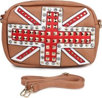 Star Style Women Brown Leatherette Sling Bag