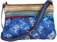 Indian Rain Aiden Blue Dupion Silk Small Sling Bag - Blue