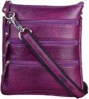 Bluwhale Men, Women Purple Genuine Leather Sling Bag