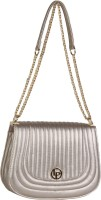 Lino Perros Women Casual Silver Leatherette Sling Bag